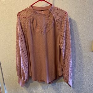 Free People Lace Sleeve Thermal